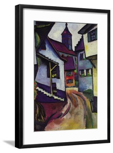 Street with a Church In Kinder-Auguste Macke-Framed Art Print