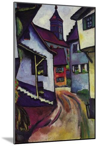 Street with a Church In Kinder-Auguste Macke-Mounted Art Print