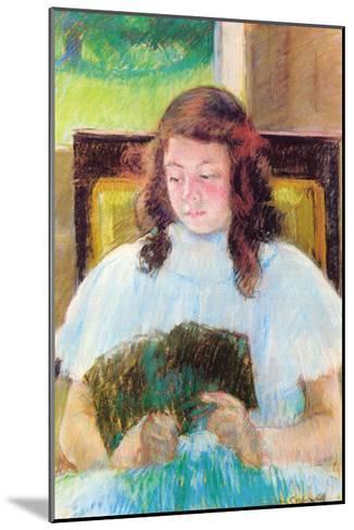 Young Girl Reading-Mary Cassatt-Mounted Art Print