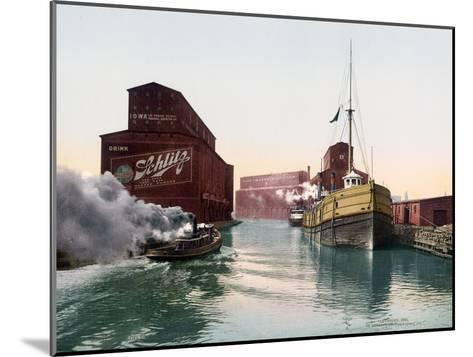 Chicago River Elevators Illinois--Mounted Giclee Print