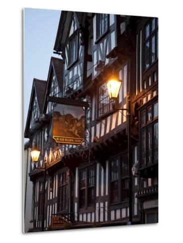 Ye Old Bullring Tavern Public House Dating from 14th Century, at Night, Ludlow, Shropshire, England-Nick Servian-Metal Print