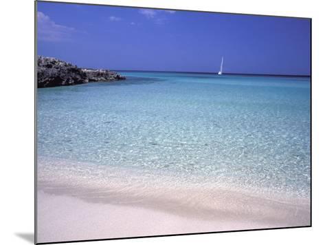Beach and Sailing Boat, Formentera, Balearic Islands, Spain, Mediterranean, Europe-Vincenzo Lombardo-Mounted Photographic Print