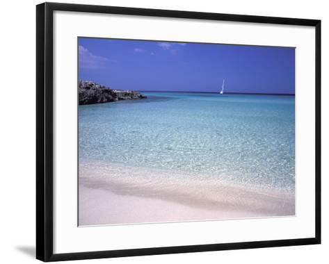 Beach and Sailing Boat, Formentera, Balearic Islands, Spain, Mediterranean, Europe-Vincenzo Lombardo-Framed Art Print