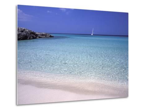 Beach and Sailing Boat, Formentera, Balearic Islands, Spain, Mediterranean, Europe-Vincenzo Lombardo-Metal Print