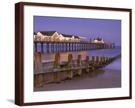 Southwold Pier and Wooden Groyne at Sunset, Southwold, Suffolk, England, United Kingdom, Europe-Neale Clark-Framed Art Print