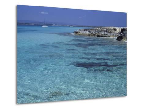 Rocky Coast and Sea, Formentera, Balearic Islands, Spain, Mediterranean, Europe-Vincenzo Lombardo-Metal Print