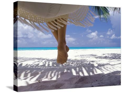 Woman Sitting on a Hammock Overlooking Sea, the Maldives, Indian Ocean, Asia-Sakis Papadopoulos-Stretched Canvas Print