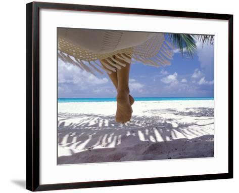 Woman Sitting on a Hammock Overlooking Sea, the Maldives, Indian Ocean, Asia-Sakis Papadopoulos-Framed Art Print