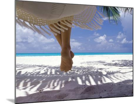 Woman Sitting on a Hammock Overlooking Sea, the Maldives, Indian Ocean, Asia-Sakis Papadopoulos-Mounted Photographic Print