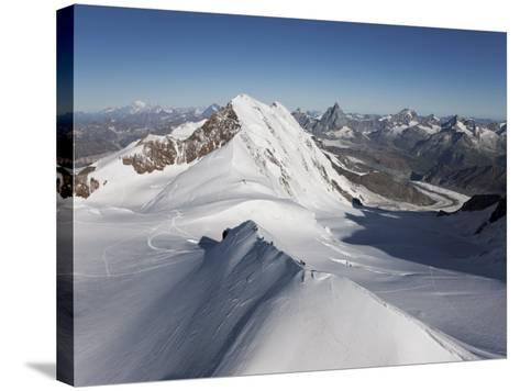 Climbers on Peak Polluce in the Monte Rosa Massif, Piedmont, Italian Alps, Italy, Europe-Angelo Cavalli-Stretched Canvas Print