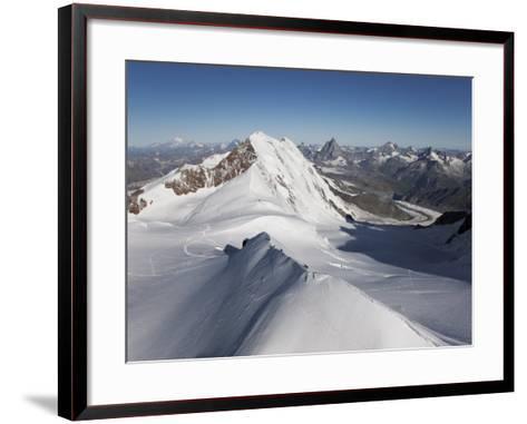 Climbers on Peak Polluce in the Monte Rosa Massif, Piedmont, Italian Alps, Italy, Europe-Angelo Cavalli-Framed Art Print