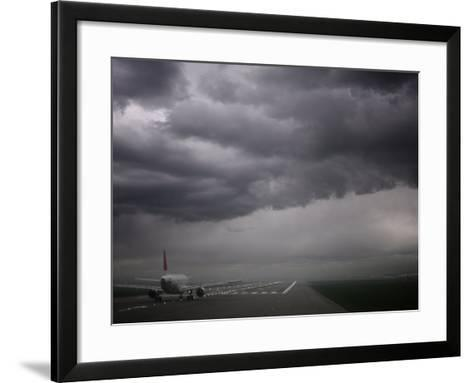 Plane Ready for Take Off and Stormy Skies, Heathrow Airport, London, England, United Kingdom--Framed Art Print