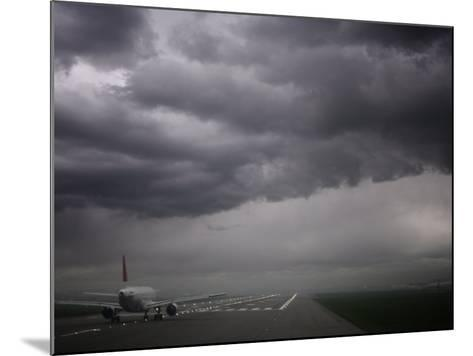 Plane Ready for Take Off and Stormy Skies, Heathrow Airport, London, England, United Kingdom--Mounted Photographic Print