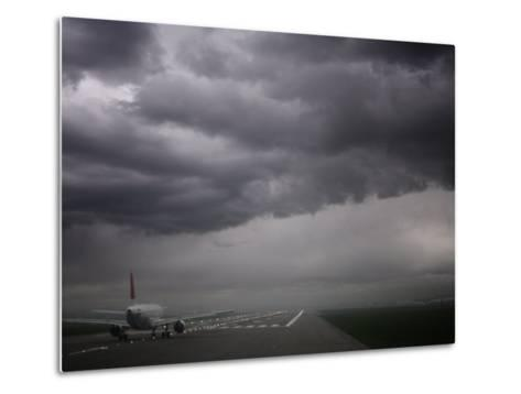 Plane Ready for Take Off and Stormy Skies, Heathrow Airport, London, England, United Kingdom--Metal Print