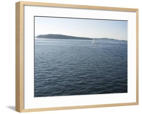 Sailboat on the Puget Sound Passes Blake Island, Washington State, United States of America-Aaron McCoy-Framed Art Print