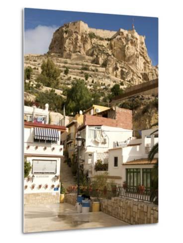 Santa Cruz Quarter and Santa Barbara Castle in Background, Alicante, Valencia Province, Spain-Guy Thouvenin-Metal Print