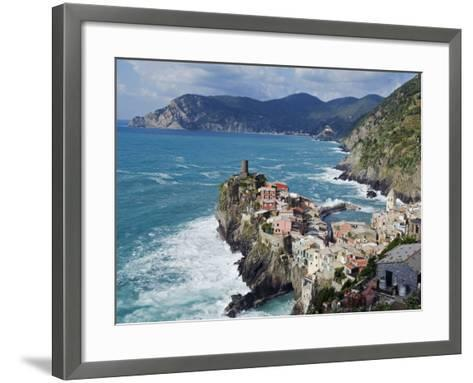 Clifftop Village of Vernazza, Cinque Terre, UNESCO World Heritage Site, Liguria, Italy, Europe-Christian Kober-Framed Art Print