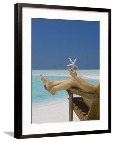 Woman Holding Seastar on the Beach, Maldives, Indian Ocean, Asia-Sakis Papadopoulos-Framed Art Print