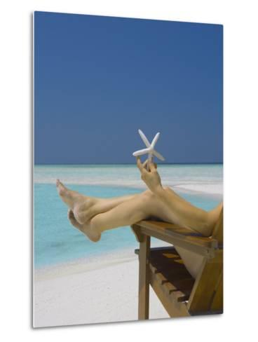 Woman Holding Seastar on the Beach, Maldives, Indian Ocean, Asia-Sakis Papadopoulos-Metal Print