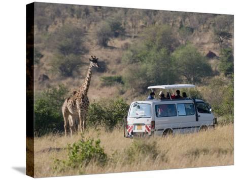 Tourists on Safari Watching Giraffes, Masai Mara National Reserve, Kenya, East Africa, Africa-Sergio Pitamitz-Stretched Canvas Print