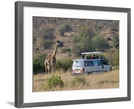Tourists on Safari Watching Giraffes, Masai Mara National Reserve, Kenya, East Africa, Africa-Sergio Pitamitz-Framed Art Print