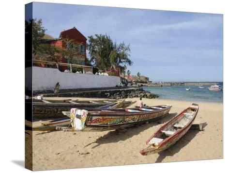 Pirogues (Fishing Boats) on Beach, Goree Island, Near Dakar, Senegal, West Africa, Africa-Robert Harding-Stretched Canvas Print