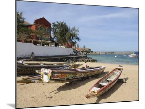 Pirogues (Fishing Boats) on Beach, Goree Island, Near Dakar, Senegal, West Africa, Africa-Robert Harding-Mounted Photographic Print