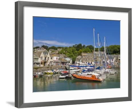 Busy Tourist Shops, Small Boats and Yachts at High Tide in Padstow Harbour, North Cornwall, England-Neale Clark-Framed Art Print