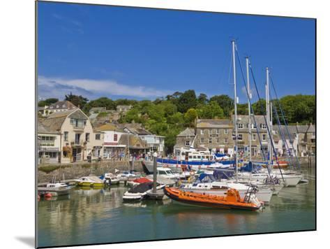 Busy Tourist Shops, Small Boats and Yachts at High Tide in Padstow Harbour, North Cornwall, England-Neale Clark-Mounted Photographic Print