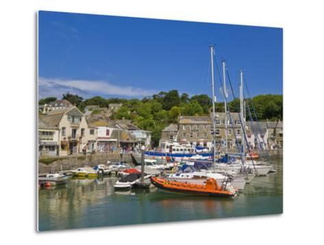 Busy Tourist Shops, Small Boats and Yachts at High Tide in Padstow Harbour, North Cornwall, England-Neale Clark-Metal Print