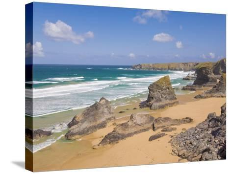 Rock Stacks, Beach and Rugged Coastline at Bedruthan Steps, North Cornwall, England-Neale Clark-Stretched Canvas Print