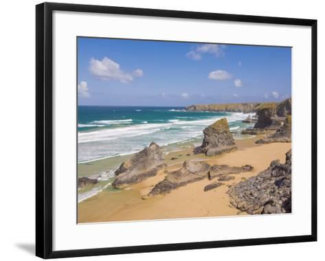 Rock Stacks, Beach and Rugged Coastline at Bedruthan Steps, North Cornwall, England-Neale Clark-Framed Art Print