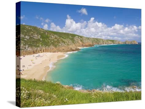 Holidaymakers and Tourists Sunbathing on Porthcurno Beach, Cornwall, England, United Kingdom-Neale Clark-Stretched Canvas Print