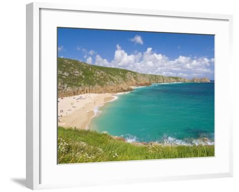 Holidaymakers and Tourists Sunbathing on Porthcurno Beach, Cornwall, England, United Kingdom-Neale Clark-Framed Art Print