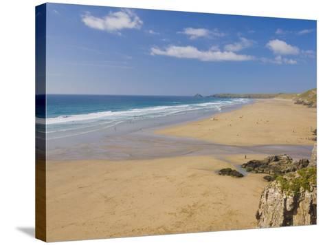 Long Beach and Coastline, Perranporth, North Cornwall, England, United Kingdom, Europe-Neale Clark-Stretched Canvas Print