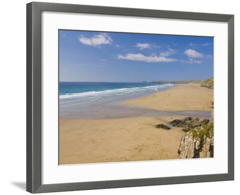 Long Beach and Coastline, Perranporth, North Cornwall, England, United Kingdom, Europe-Neale Clark-Framed Art Print
