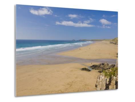 Long Beach and Coastline, Perranporth, North Cornwall, England, United Kingdom, Europe-Neale Clark-Metal Print