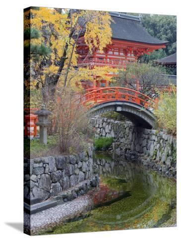 Arched Bridge and Pavilion, Shimogamo Shrine, Tadasu No Mori, Kyoto, Japan, Asia-Christian Kober-Stretched Canvas Print