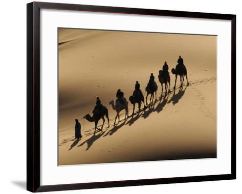 Bedouin Caravan Riding Through the Sahara Desert, Near Merzouga, Morocco, North Africa, Africa-Michael Runkel-Framed Art Print