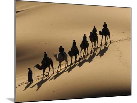 Bedouin Caravan Riding Through the Sahara Desert, Near Merzouga, Morocco, North Africa, Africa-Michael Runkel-Mounted Photographic Print