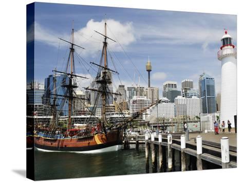 Replica of Captain Cook's Endeavour, National Maritime Museum, Darling Harbour, Sydney, Australia-Jochen Schlenker-Stretched Canvas Print