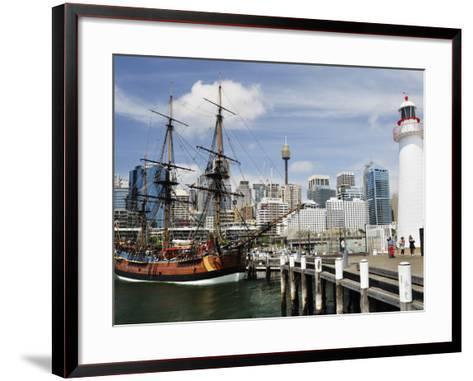 Replica of Captain Cook's Endeavour, National Maritime Museum, Darling Harbour, Sydney, Australia-Jochen Schlenker-Framed Art Print