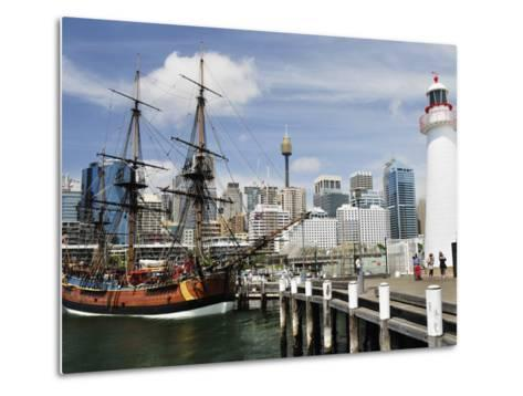 Replica of Captain Cook's Endeavour, National Maritime Museum, Darling Harbour, Sydney, Australia-Jochen Schlenker-Metal Print