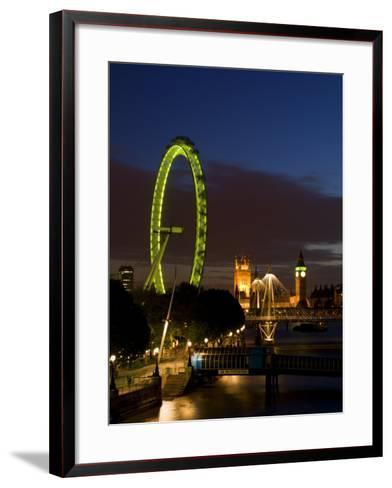 Skyline at Dusk with the London Eye and Big Ben, London, England, United Kingdom, Europe-Charles Bowman-Framed Art Print