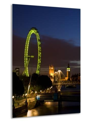 Skyline at Dusk with the London Eye and Big Ben, London, England, United Kingdom, Europe-Charles Bowman-Metal Print