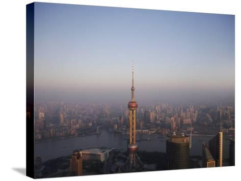 Pearl Tower at Dawn, Shanghai, China, Asia--Stretched Canvas Print