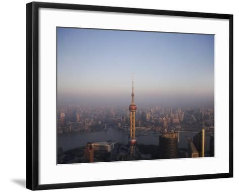 Pearl Tower at Dawn, Shanghai, China, Asia--Framed Art Print