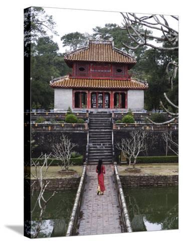 Vietnamese Schoolgirl Walking over Bridge to Minh Lau Pavilion, Vietnam, Indochina, Southeast Asia--Stretched Canvas Print