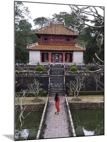 Vietnamese Schoolgirl Walking over Bridge to Minh Lau Pavilion, Vietnam, Indochina, Southeast Asia--Mounted Photographic Print
