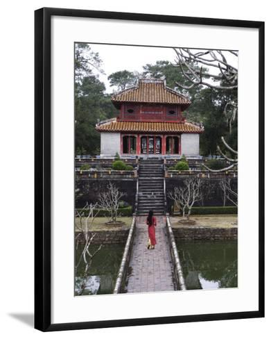 Vietnamese Schoolgirl Walking over Bridge to Minh Lau Pavilion, Vietnam, Indochina, Southeast Asia--Framed Art Print